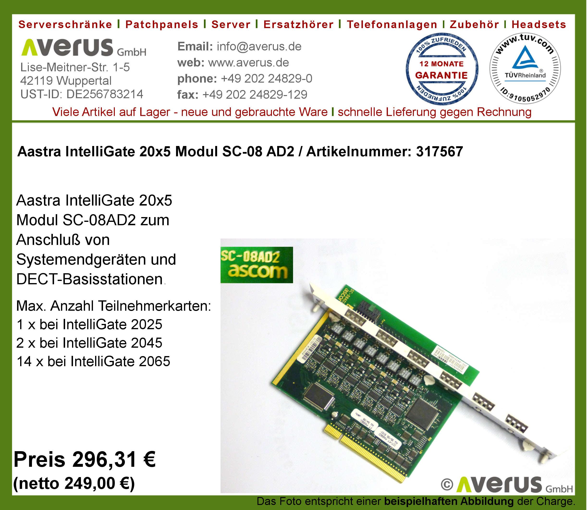 Aastra Ascotel IntelliGate AIP6500 Re/_MSt IPI-100BT IP Gateway  Modul 2065 2045